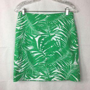 Talbots Palm Leaf Cotton Stretch Pencil Skirt 4P